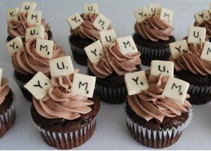 scrabble cupcakes - for game night: