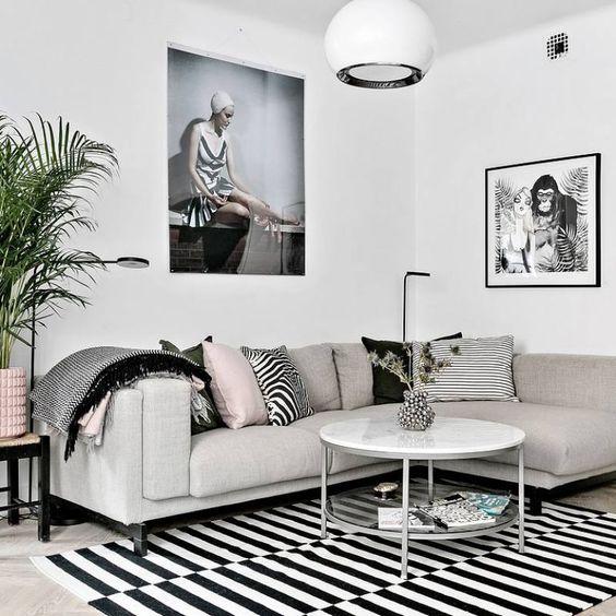 51 Nordic living room ideas - Grey scandinavian apartment living room