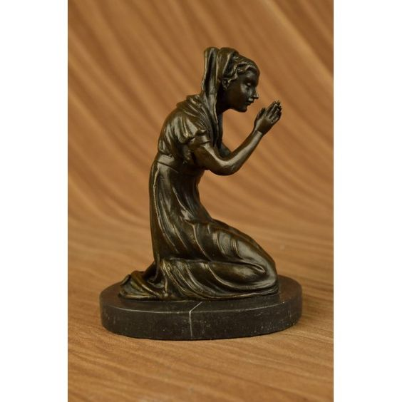 """ON SALE !!! Our Blessed Mother Virgin Mary Praying Bronze Sculpture Marble Base Statue Decor...Our Blessed Mother Intercedes For Us Through Her Prayers While Teaching Us To Pray Through Her Holy Example At The Same Time. This Beautiful Statue Shows Her Cloaked In Stars As She Prays. It Is Made Of Real Bronze With Lightly Hand-Painted Accents. Handmade Of 100% Bronze And Resting On A Solid Black Marble Base. This Sculpture Has A Two Tone Brown Patina And Is Cast Using The Ancient """"Lost Wax…"""