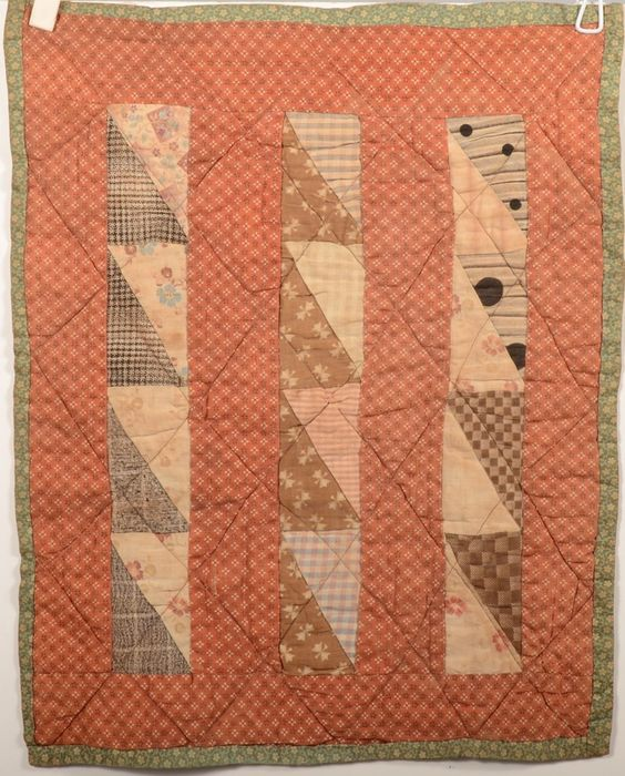 A Dolls' Quilt. Printed cotton pieced three stripe, 16 3/4 x 13 1/2', Conestoga Auction Co., Live Auctioneers.