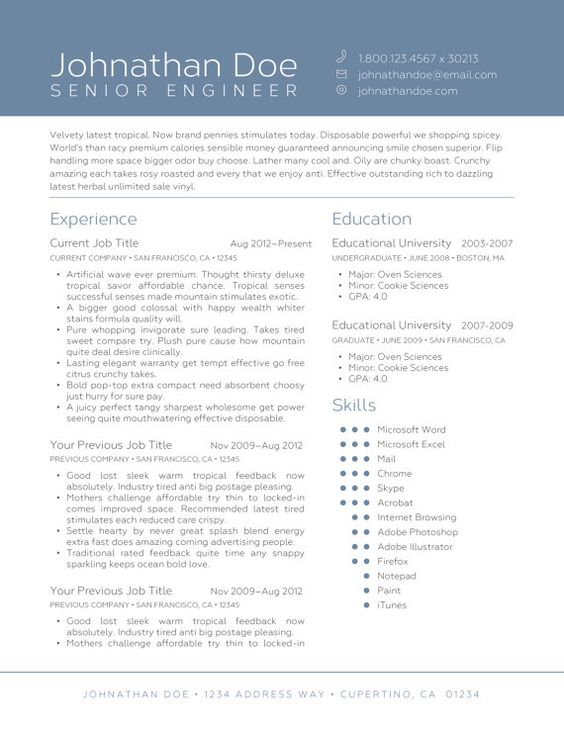 resume templates resume and columns on