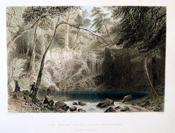 Steel Engraving Indian Falls Near Cold Spring Opposite West Point Ny With Images Cold Spring Ny Beautiful