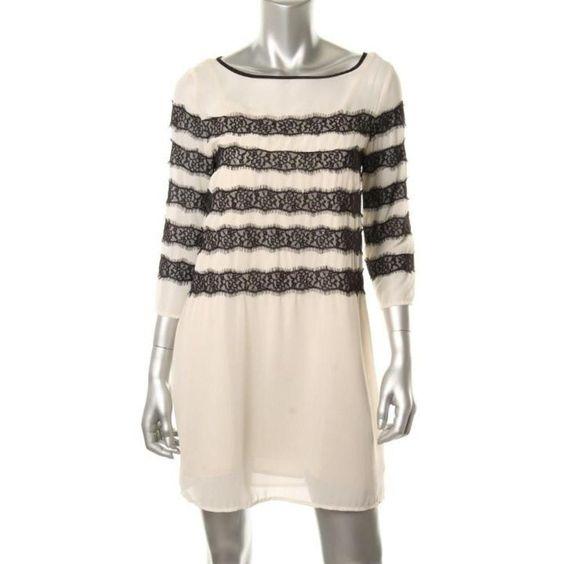 TOMMY HILFIGER NEW Ivory Chiffon Lace Trim Party Cocktail Dress XL BHFO #TommyHilfiger #CocktailDress