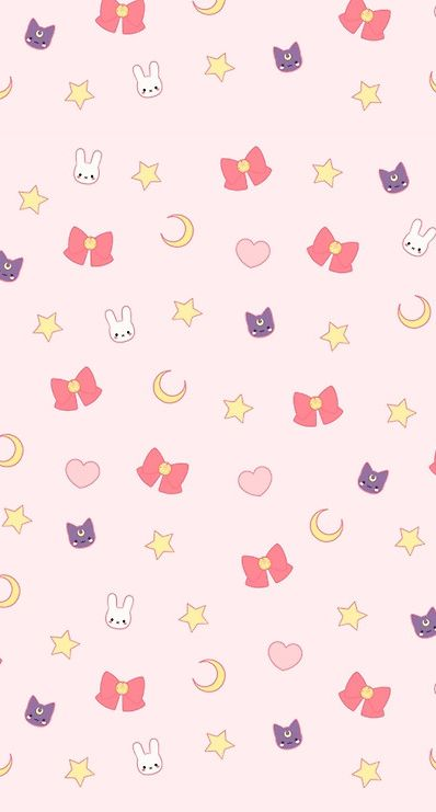 Sailor Moon phone wallpaper. Usagi, luna, the first brooch, stars, crescents, and hearts. Perfection~Visual. Direct. Internet.