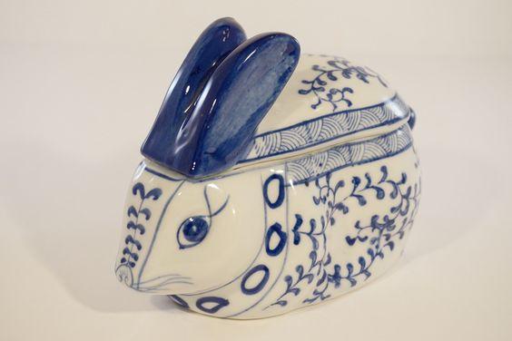 Ceramic Rabbit Trinket Box