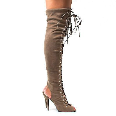 Randi23 Corset Boots Thigh High Peep Toe Lace Up Stiletto High Heel Boots
