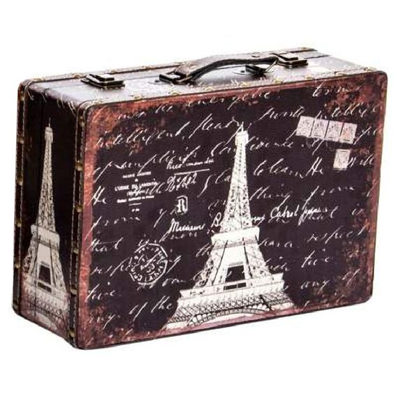 Valise Paris Déco Rétro Carte postale 35 cm
