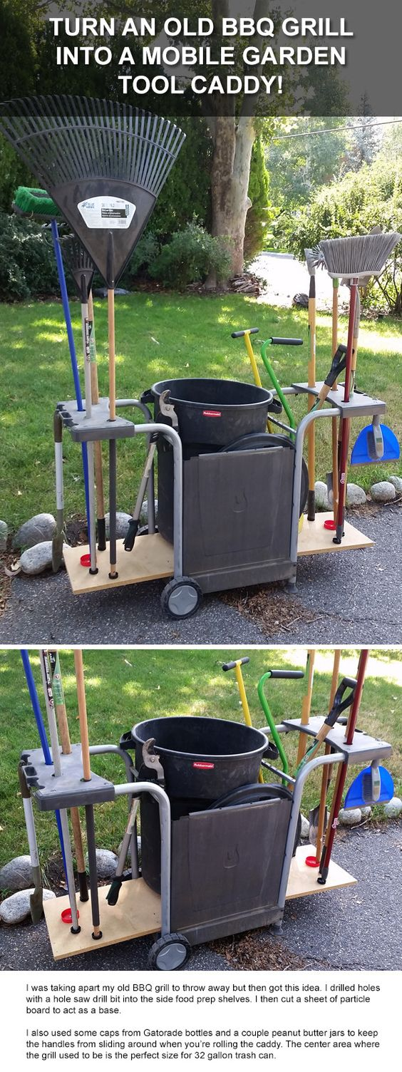 Old Bbq Grill Makes A Great Mobile Garden Tool Storage