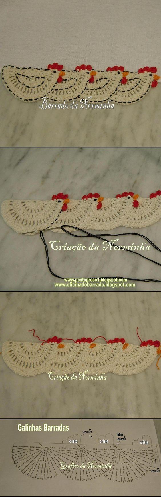 3 barradinha galinha crochet: