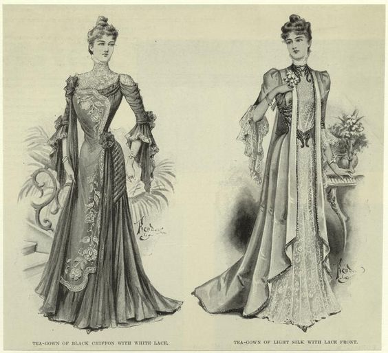 Tea-gown of black chiffon with white lace ; Tea-gown of light silk with lace front. (1899)