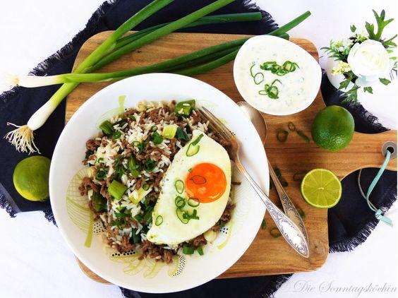 Fertig in 20 Minuten…Reispfanne mit Frühlingszwiebeln,Hackfleisch