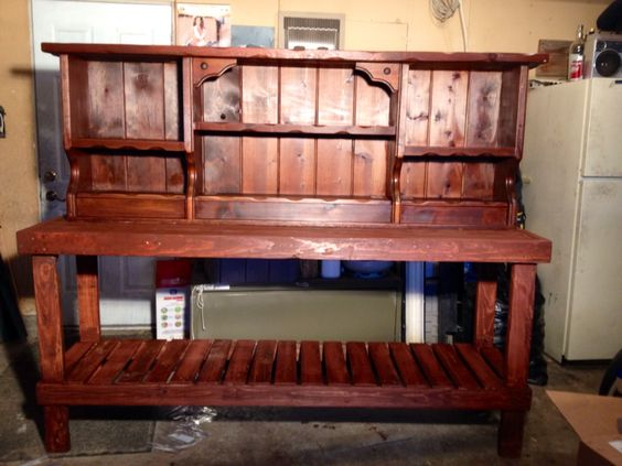 Used Old Waterbed Headboard And Made Quot Sidetable Quot Out Of