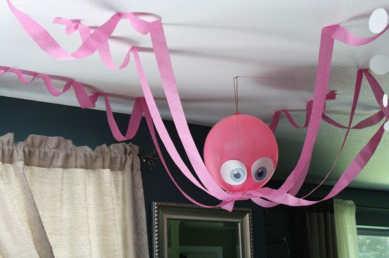 Octopus decoration for under the sea birthday theme. Or use black to look like spiders for Halloween!:
