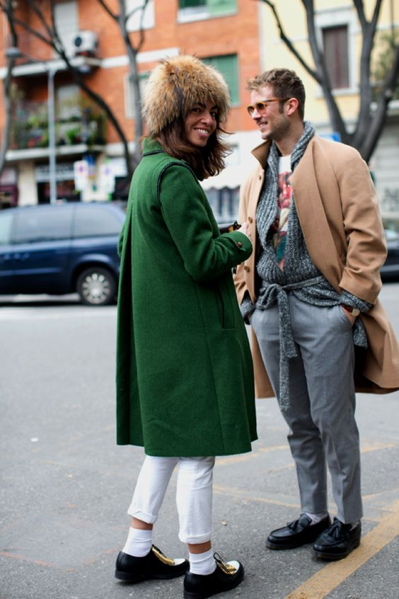 love green coat + hat (colour )+ white trousers (not so sure about the white socks)