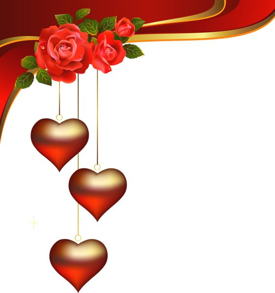 Decorative Hearts Pendants with Roses Element PNG Clipart