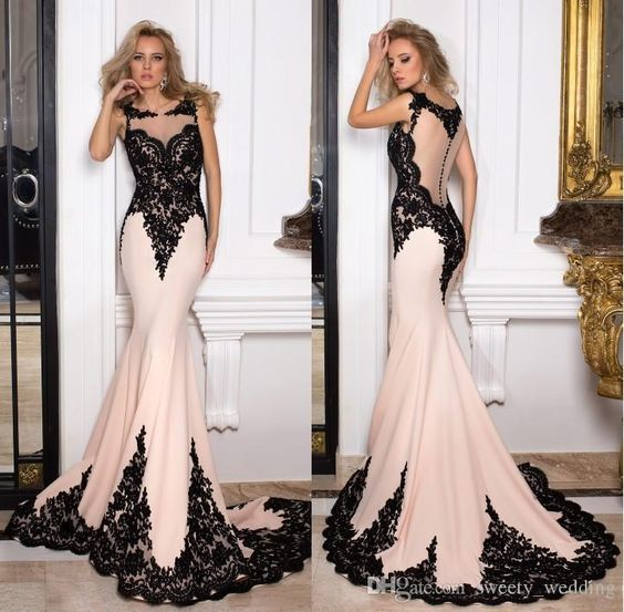 Vintage Illusion Back Mermaid Prom Dresses Black Lace Sweep Train Covered Buttons 2016 Formal Mother Of Bride Evening Occasion Gowns Cheap Blue Prom Dresses Uk Boutique Prom Dresses From Sweety_wedding, $148.38| Dhgate.Com
