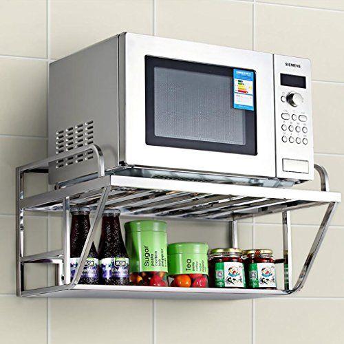 Kitchen Shelf Kitchen Storage Rack Kitchen Wall Mounted Microwave Oven Rack Multifunction Stainless Steel Microwave In Kitchen Kitchen Kitchen Islands Carts