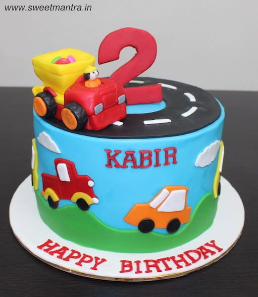 Cars And Trucks Theme Customized Cake For 2nd Birthday By Sweet Mantra Customized 3d Cakes Designer Truck Birthday Cakes Cars Birthday Cake Cars Cake Design