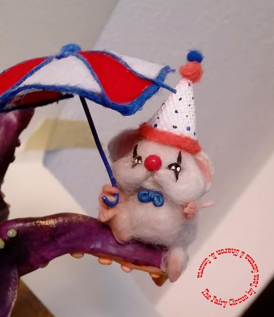 Ooak Polymer clay creation by Tata Serena and Sharon Barbara Smorta The Fairy Circus (Octopus and mice)