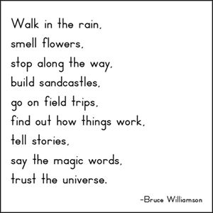 """Walk in the rain,   smell flowers,   stop along the way,   build sandcastles,   go on field trips,   find out how things work,   tell stories,   say the magic words,   trust the universe.""   ― Bruce Williamson"