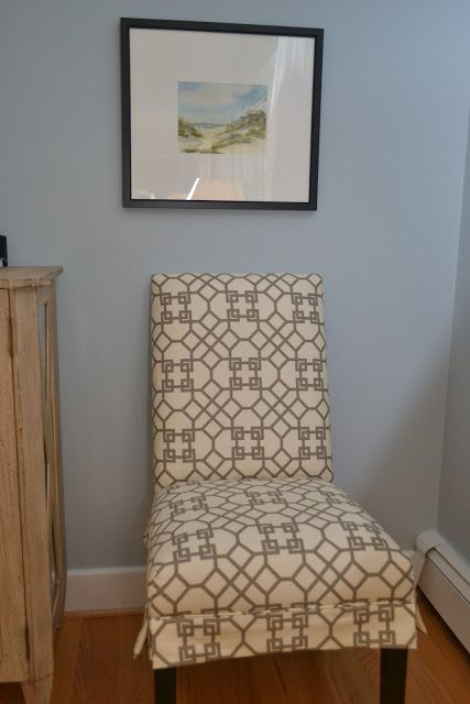 reupholstered parsons chair with added short skirt, piping and kick pleats on side    LUCY WILLIAMS INTERIOR DESIGN BLOG