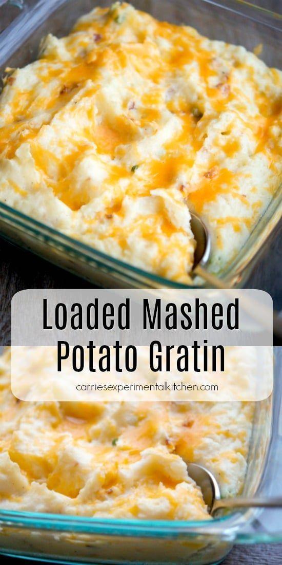 Loaded Mashed Potato Gratin Recipe Mashed Potato Gratin Loaded Mashed Potatoes Potato Side Dishes
