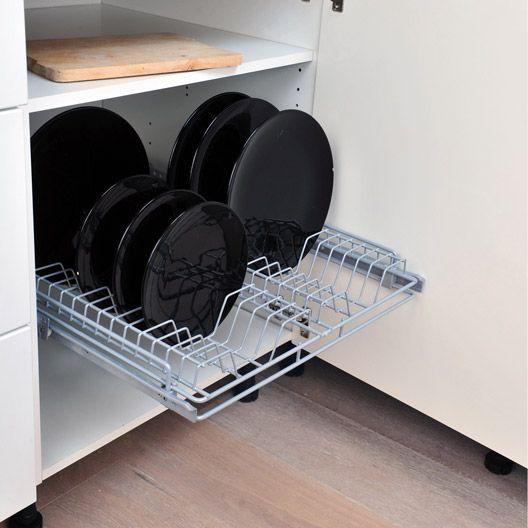 Rangement coulissant 1 panier assiettes pour meuble de 60 for Rangement interieur meuble cuisine