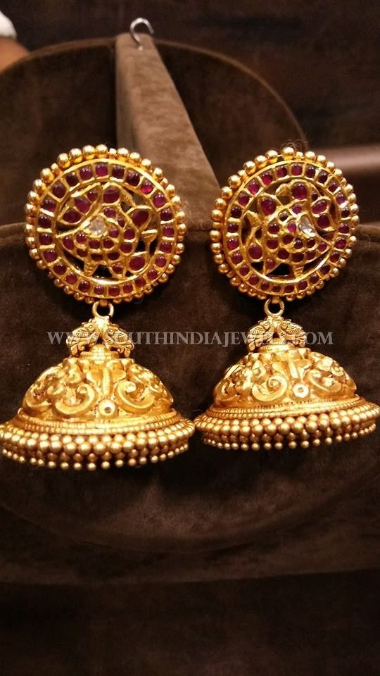 Gold Bridal Kemp Jhumka Design South India Jewels Jhumka Designs Earrings Collection Jewels
