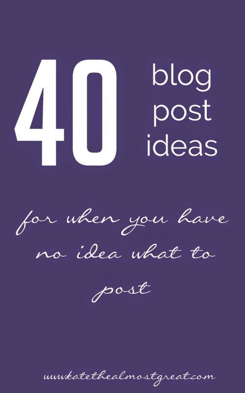 We've all been there – you sit down to blog, but can't think of anything to write. On the days when you don't know what to blog about, use of these ideas. (Pssst – pin this image to look back at later.) 1. 25 random facts about you 2. The 5 best things about the … … Continue reading →