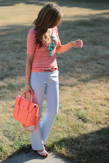 gray pants, coral top, teal necklace