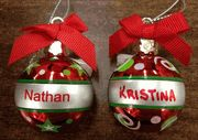 """3/8"""" Ganz Personalized Joyous Noel Christmas Name Ornaments. 342 Different Names Available & 32 Expressions. These are perfect to hang on your christmas tree, or to hang on a small tree in your office. Or you can get the Ornament Hanger to display them on."""