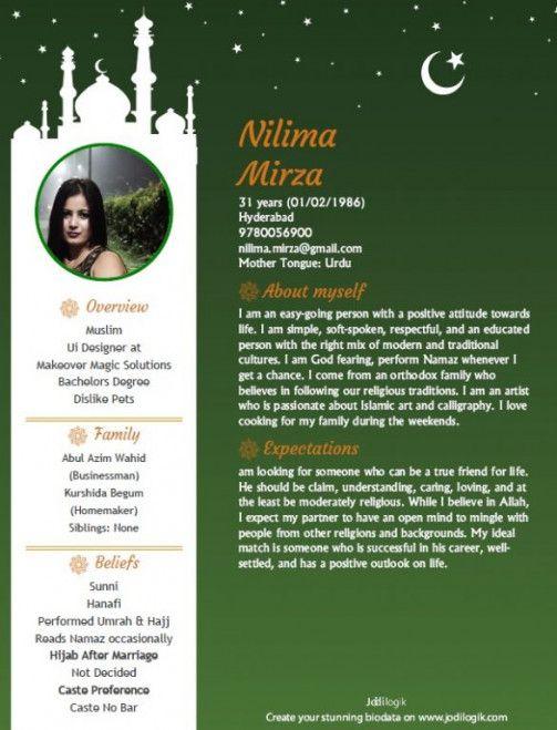 Muslim Biodata For Marriage Format Di 2021