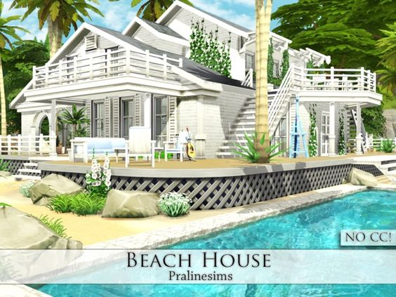 Beach houses beaches and sims 4 on pinterest for Beach house designs for sims 3