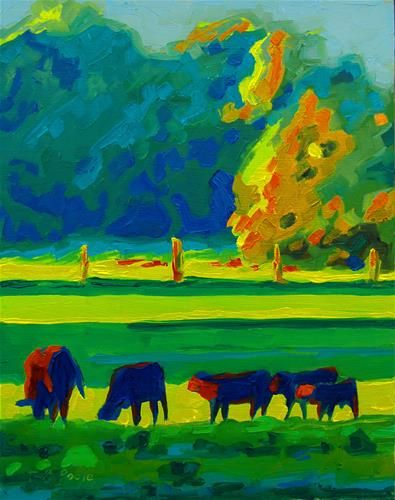 """Two Cows and Three Calves Texas Sunset Oil Painting by Bertram Poole"" - Original Fine Art for Sale - � Bertram Poole"