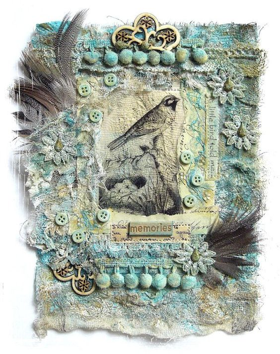 Fabric collage - lovely, i love the colors, inclusion of feathers, etc. (pom-poms even reminiscent of eggs).  would be nice to make in spring-colors for spring wall hanging (wire frame to hang?)