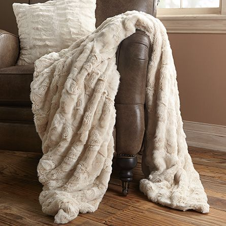 Luxe Ivory Faux Fur Throw | Arhaus Furniture: