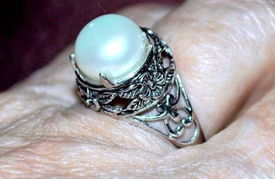Traditional .925 Silver Scroll Setting Cultured Pearl Ring Size 7  #Unbranded #Traditional