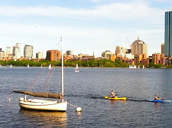 Boat traffic on the Charles.