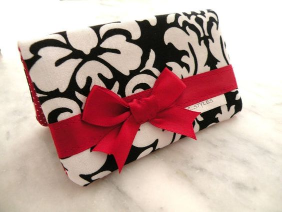 Card Holder--Business Card Holder--Black-White Dandy Damask with Red Satin Bow, $7.99