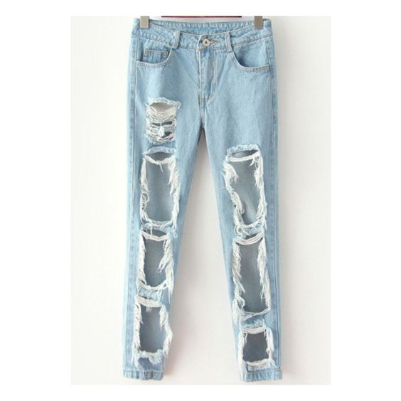 SheIn(sheinside) Blue Ripped Denim Pant (€22) ❤ liked on Polyvore featuring jeans, blue, blue jeans, destructed jeans, loose fit jeans, destroyed jeans and denim jeans