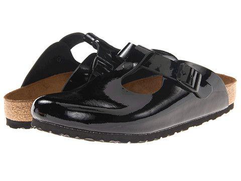 black patent birkenstock clogs