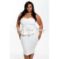 New Plus Size BodyCon Strapless Peplum Dress in Ivory 1x 2x 3x