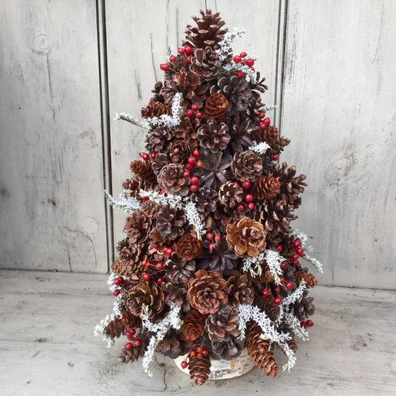 Pinecone and Berry Christmas tree topiary centerpiece. Rose hips and Statice on Birch log. Free shipping.: