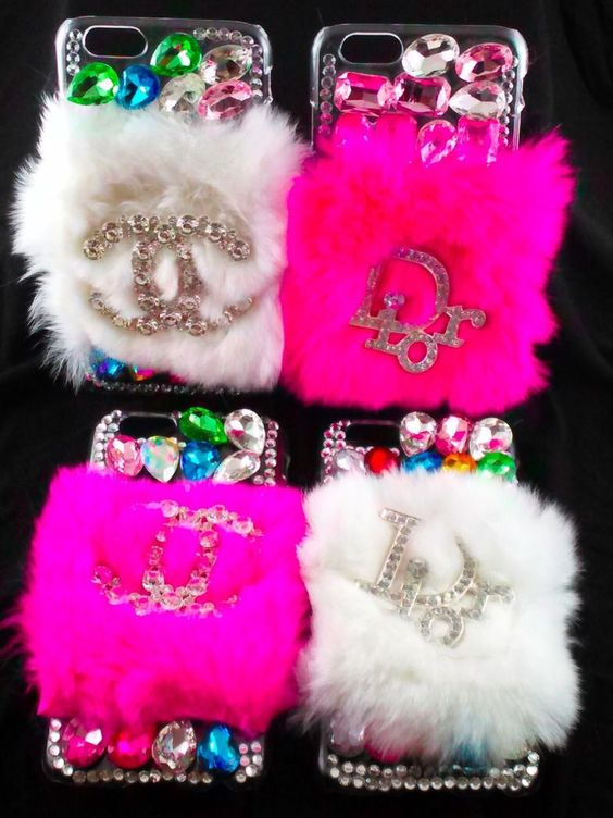 FREE SHIPPING iPhone 6 Designer Logo fur Cell Phone Case Pink White in Cell Phones & Accessories | eBay