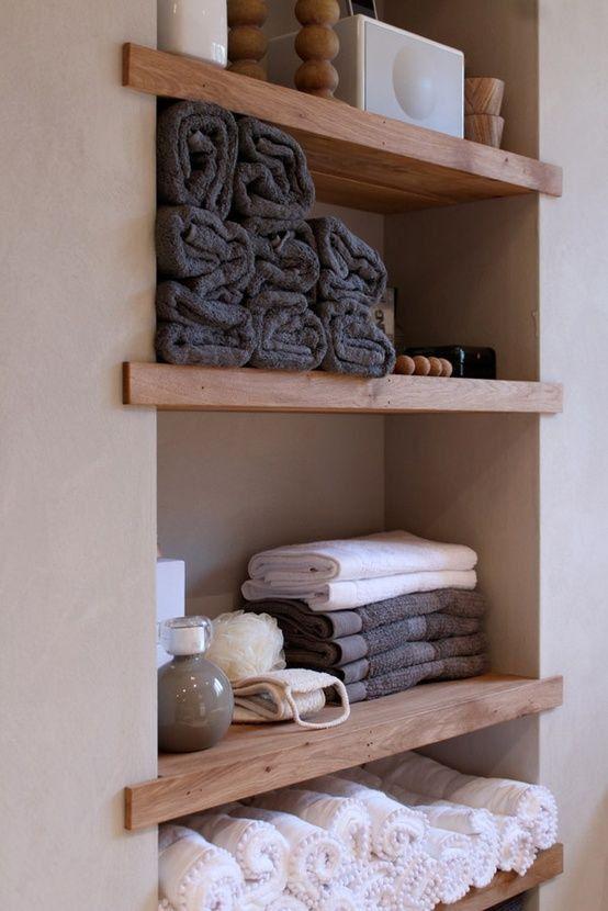 Built-in shelving for the bathroom. Good idea for our small shelf outside the bathroom - http://goo.gl/Hl7yn9