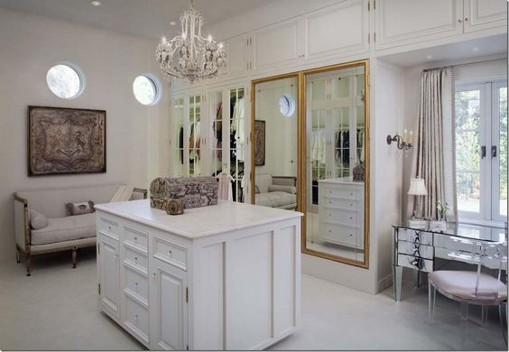 hers (1 of 2) her dressing room is filled with french antiques including the mirrored doors♔: French Antique, Walk In Closet, Dream Closet, Closet Design, Dreamy Bedrooms, Master Bedroom, Dressing Table, Closets Dressing Rooms