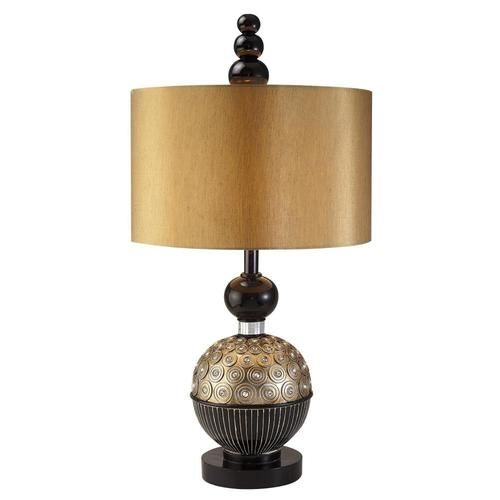 Ore International Twilight 31 In Gold 3 Way Table Lamp With Fabric Shade Lowes Com Table Lamp Black Table Lamps Elegant Table Lamp