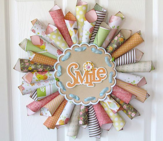Ribbons & Glue: The Paper Variety...Paper Cone Wreath Tutorial