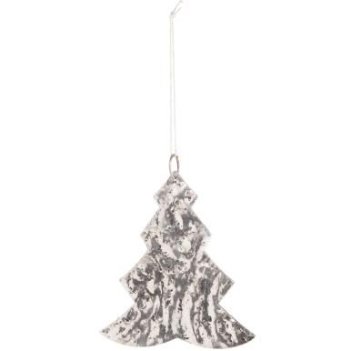 HANG ON Metal Christmas-tree-shaped hanging ornament, silver, 12 cm - Ornaments