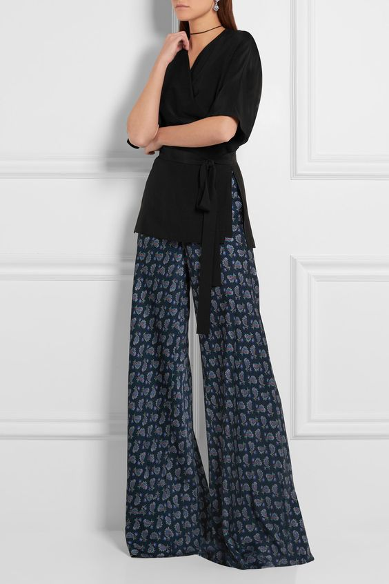 ETRO Black silk-crepe Ties at wrap front 100% silk Dry clean